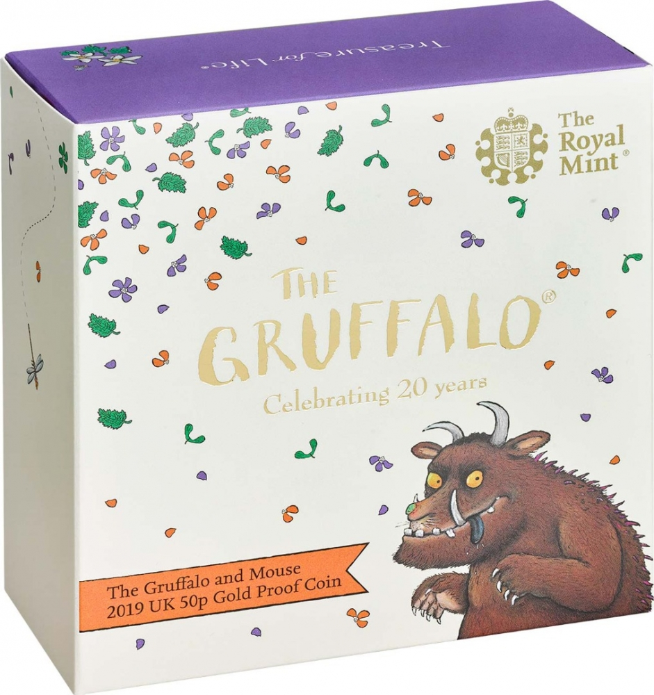 50 Pence 2019, United Kingdom (Great Britain), Elizabeth II, 20th Anniversary of The Gruffalo, The Gruffalo and Mouse, Box