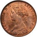 1/2 Penny 1860-1874, KM# 748, United Kingdom (Great Britain), Victoria