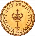 1/2 Penny 1982-1984, KM# 926, United Kingdom (Great Britain), Elizabeth II