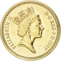 1 Pound 1987-1992, KM# 948, United Kingdom (Great Britain), Elizabeth II, Royal Diadem, English Oak