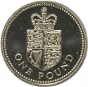 1 Pound 1988, KM# 954, United Kingdom (Great Britain), Elizabeth II, Heraldic Emblems, Royal Shield