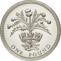 1 Pound 1989, KM# 959a, United Kingdom (Great Britain), Elizabeth II, Royal Diadem, Scottish Thistle