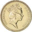 1 Pound 1985-1990, KM# 941, United Kingdom (Great Britain), Elizabeth II, Royal Diadem, Welsh Leek