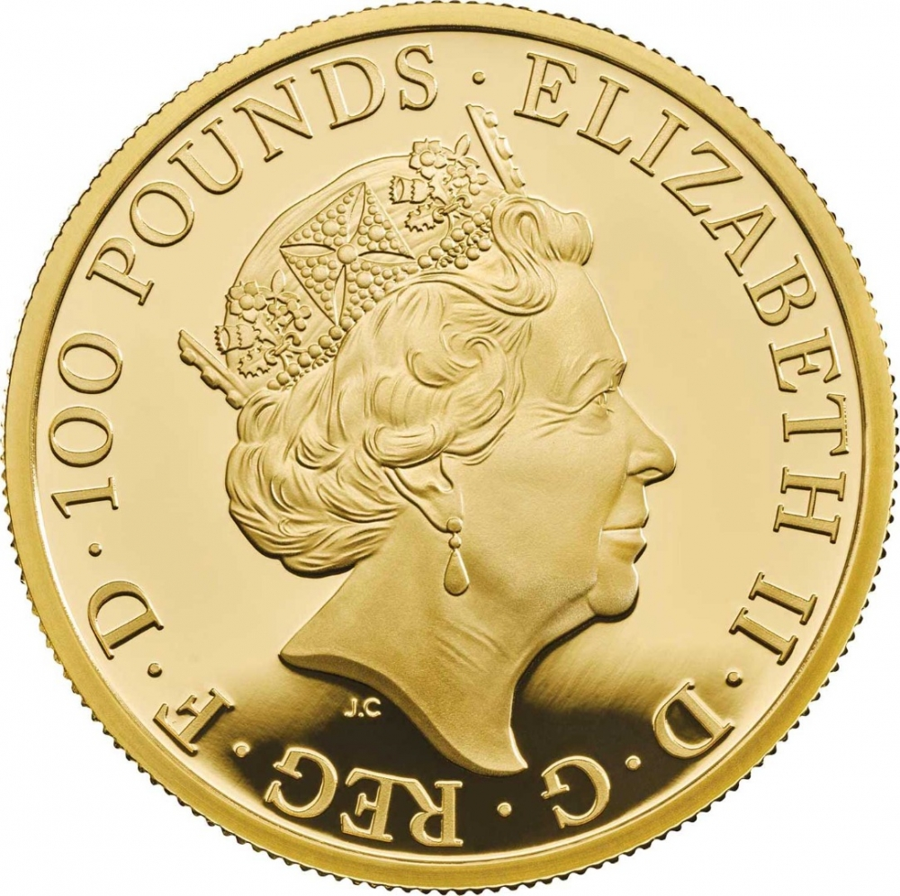 100 Pounds 2019, United Kingdom (Great Britain), Elizabeth II, Chinese Zodiac, Year of the Pig