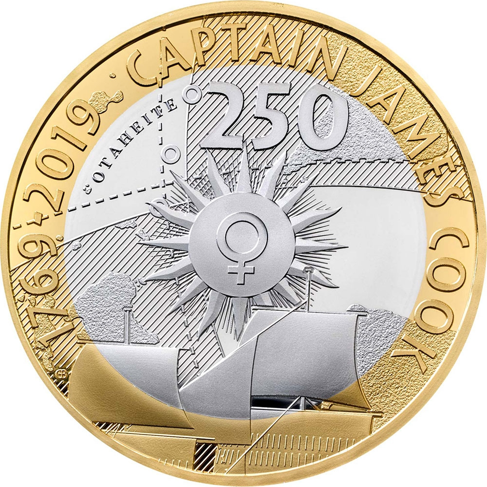 2 Pounds 2019, United Kingdom (Great Britain), Elizabeth II, 250th Anniversary of Captain James Cook's Voyage of Discovery, 1769 Transit of Venus Observed from Tahiti