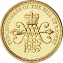 2 Pounds 1989, KM# 960, United Kingdom (Great Britain), Elizabeth II, 300th Anniversary of the Bill of Rights