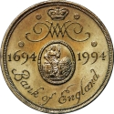 2 Pounds 1994, KM# 968, United Kingdom (Great Britain), Elizabeth II, 300th Anniversary of the Bank of England