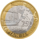 2 Pounds 2018, United Kingdom (Great Britain), Elizabeth II, 250th Anniversary of Captain James Cook's Voyage of Discovery, First Voyage