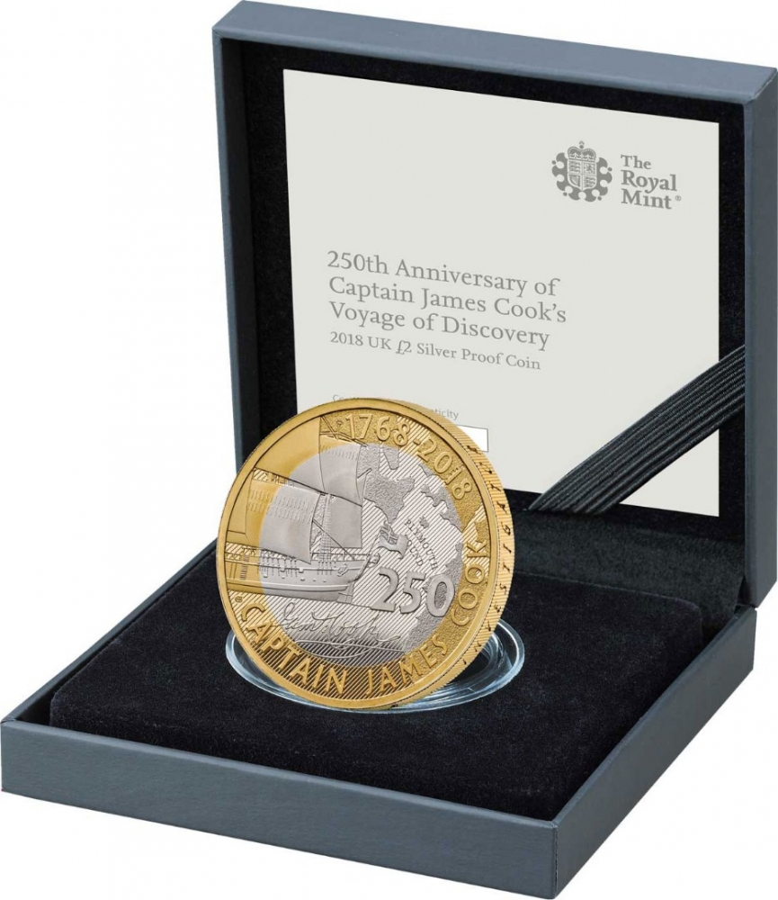 2 Pounds 2018, United Kingdom (Great Britain), Elizabeth II, 250th Anniversary of Captain James Cook's Voyage of Discovery, Royal Mint case with a booklet