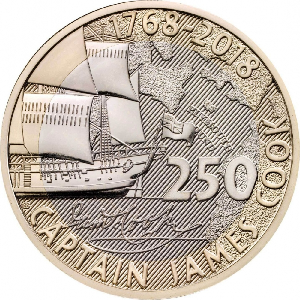 2 Pounds 2018, United Kingdom (Great Britain), Elizabeth II, 250th Anniversary of Captain James Cook's Voyage of Discovery