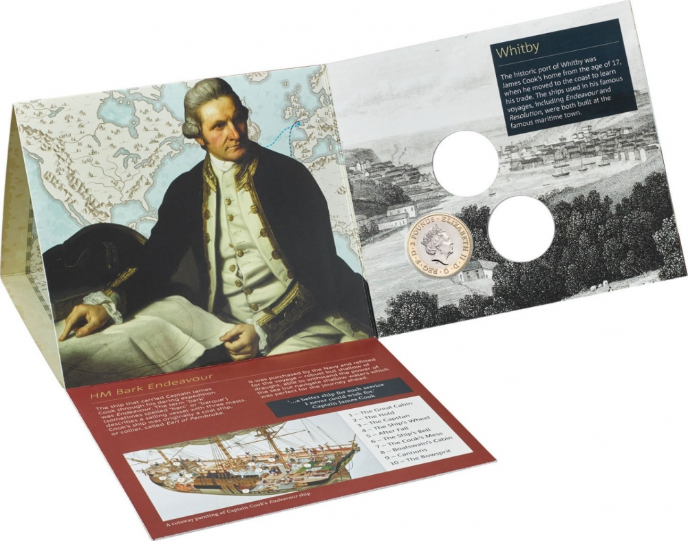 2 Pounds 2018, United Kingdom (Great Britain), Elizabeth II, 250th Anniversary of Captain James Cook's Voyage of Discovery, Puzzle-style packaging