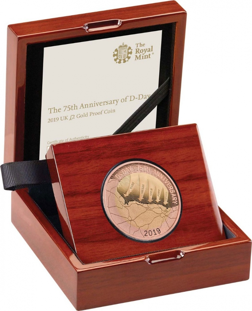 2 Pounds 2019, United Kingdom (Great Britain), Elizabeth II, 75th Anniversary of D-Day, Royal Mint wooden box