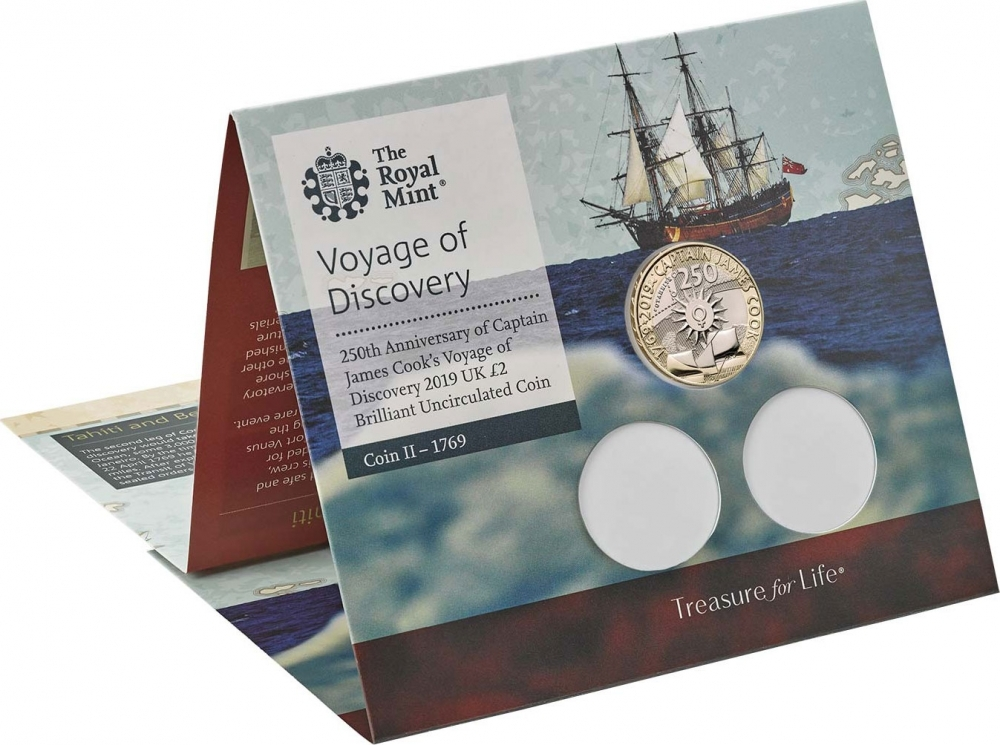 2 Pounds 2020, United Kingdom (Great Britain), Elizabeth II, 250th Anniversary of Captain James Cook's Voyage of Discovery, Captain Cook's Exploration of Australasia, Puzzle-style packaging