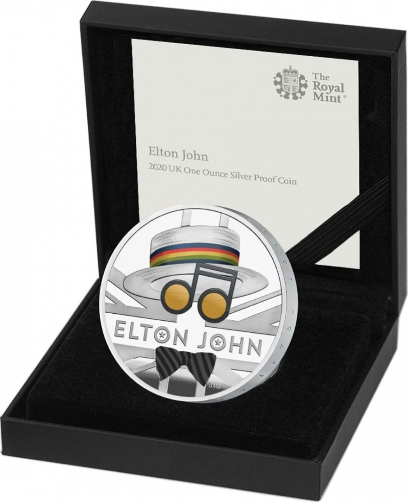 2 Pounds 2020, United Kingdom (Great Britain), Elizabeth II, Music Legends, Elton John, Box with a certificate of authenticity