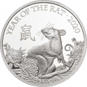 2 Pounds 2020, United Kingdom (Great Britain), Elizabeth II, Chinese Zodiac, Year of the Rat