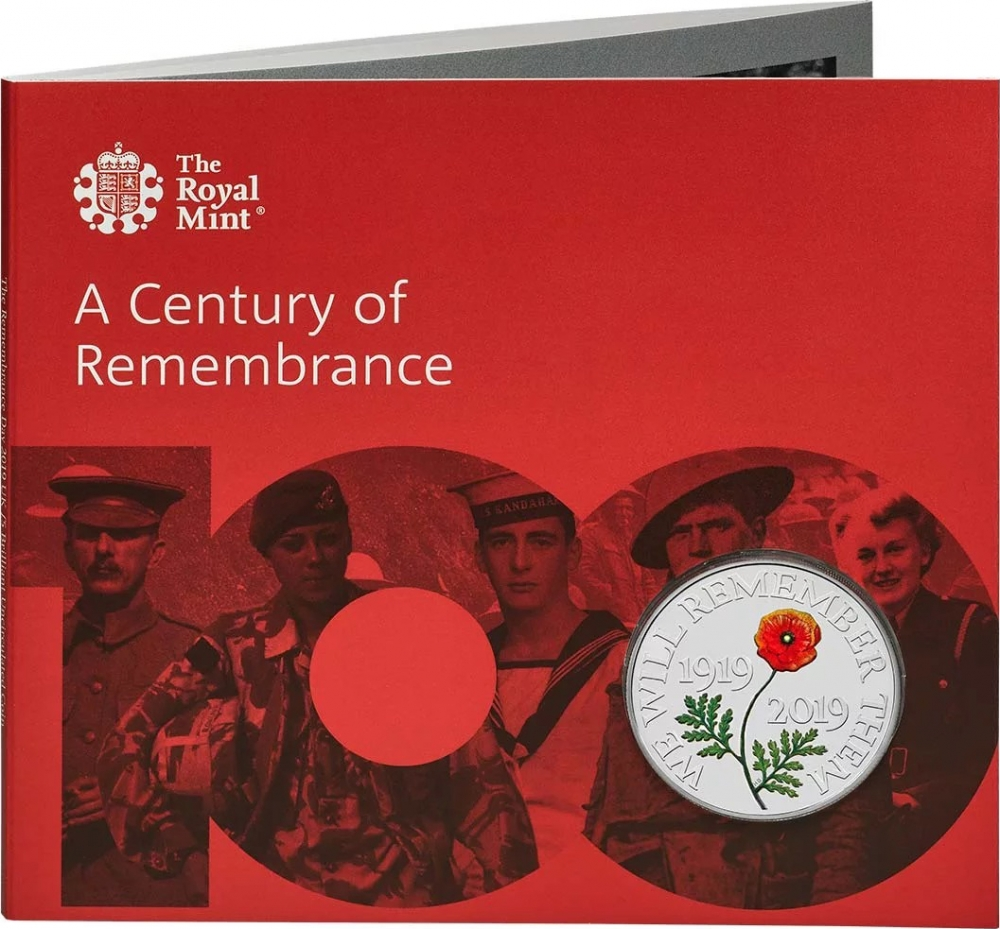5 Pounds 2019, United Kingdom (Great Britain), Elizabeth II, Remembrance Day, 100 Anniversary of Remembrance Day, Fold-out wallet
