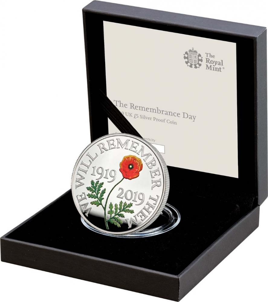 5 Pounds 2019, United Kingdom (Great Britain), Elizabeth II, Remembrance Day, 100 Anniversary of Remembrance Day, Royal Mint case