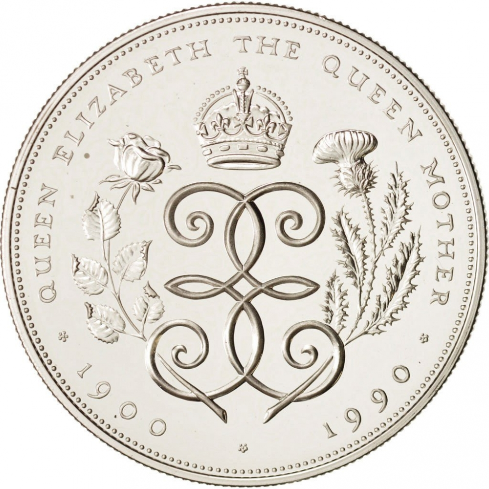 5 Pounds 1990, KM# 962a, United Kingdom (Great Britain), Elizabeth II, 90th Anniversary of Birth of the Queen Mother