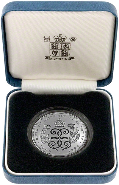5 Pounds 1990, KM# 962a, United Kingdom (Great Britain), Elizabeth II, 90th Anniversary of Birth of the Queen Mother, Presentation box