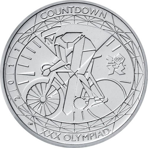 5 Pounds 2011, KM# 1202, United Kingdom (Great Britain), Elizabeth II, London 2012 Summer Olympics Countdown, 1 Year To Go, Cycling