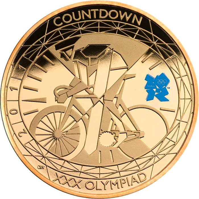 5 Pounds 2011, KM# 1202b, United Kingdom (Great Britain), Elizabeth II, London 2012 Summer Olympics Countdown, 1 Year To Go, Cycling