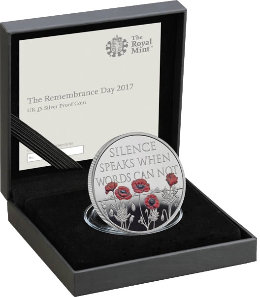 5 Pounds 2017, United Kingdom (Great Britain), Elizabeth II, Remembrance Day, Royal Mint case