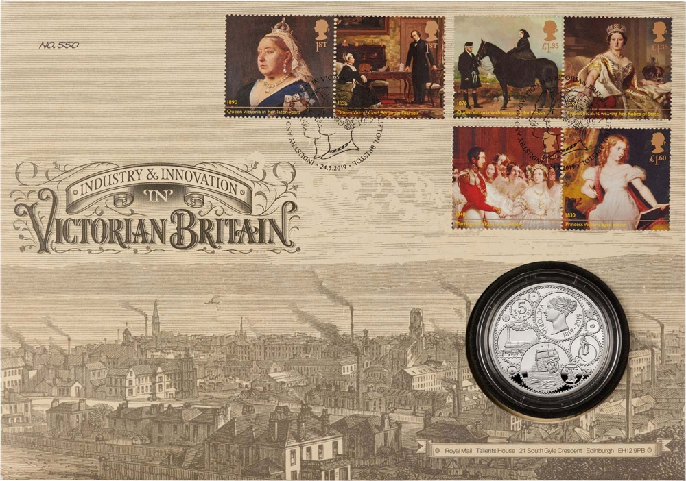5 Pounds 2019, United Kingdom (Great Britain), Elizabeth II, 200th Anniversary of Birth of Queen Victoria, Coin and stamp set