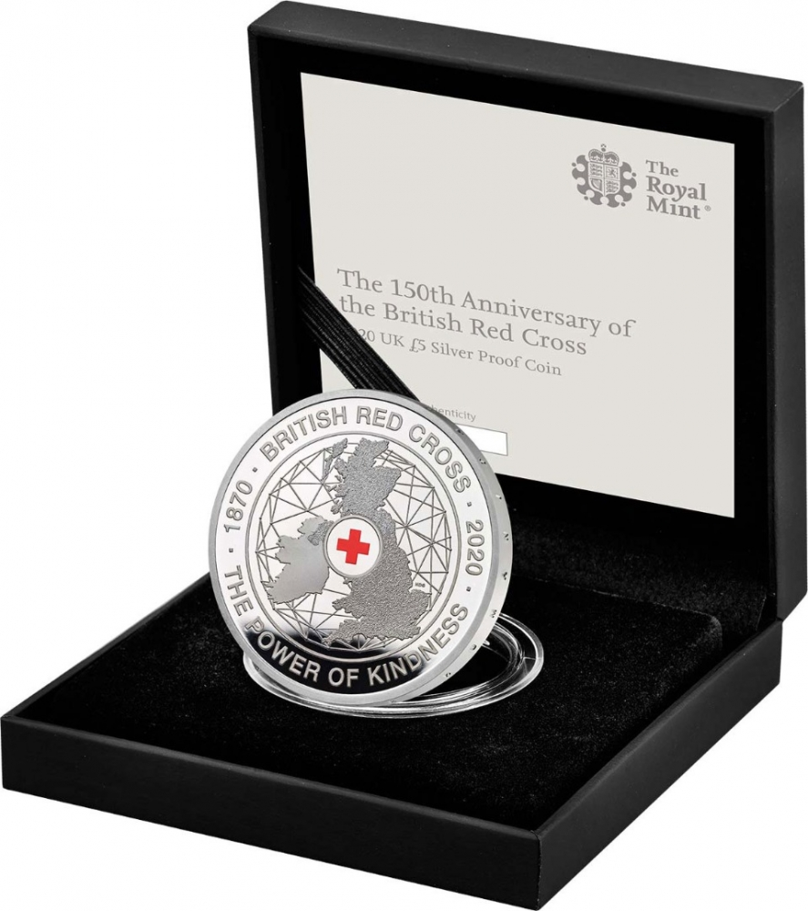 5 Pounds 2020, United Kingdom (Great Britain), Elizabeth II, 150th Anniversary of the British Red Cross, Royal Mint case accompanied by a booklet