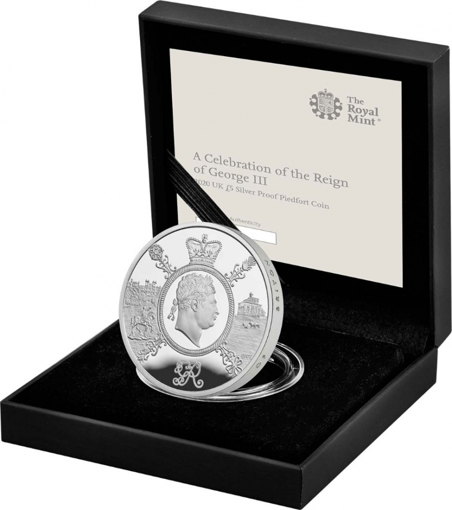 5 Pounds 2020, United Kingdom (Great Britain), Elizabeth II, 200th Anniversary of Death of George III, Royal Mint case accompanied by a booklet