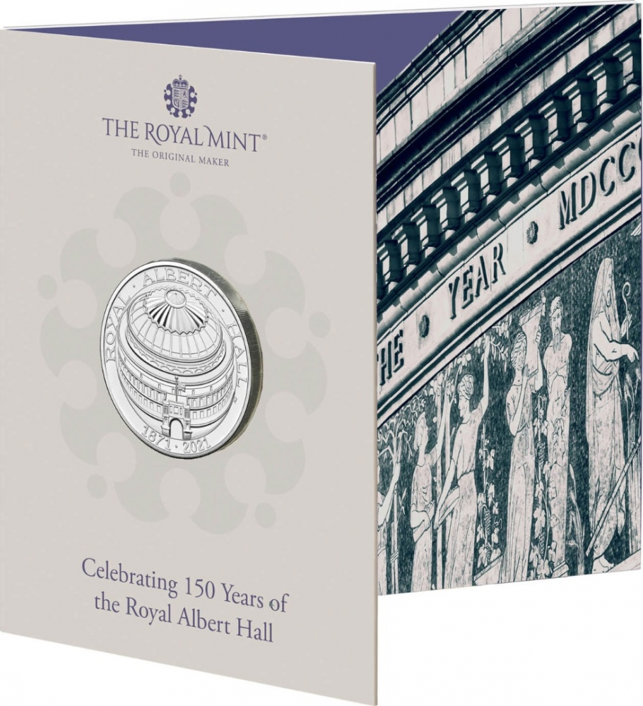 5 Pounds 2021, United Kingdom (Great Britain), Elizabeth II, 50th Anniversary of the Royal Albert Hall, Special display packaging
