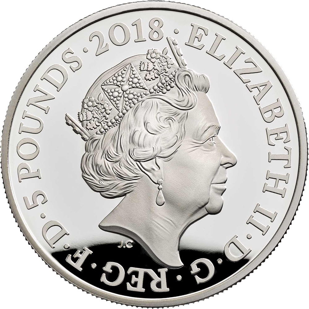 5 Pounds 2018, United Kingdom (Great Britain), Elizabeth II, Remembrance Day, Armistice of 11 November 1918