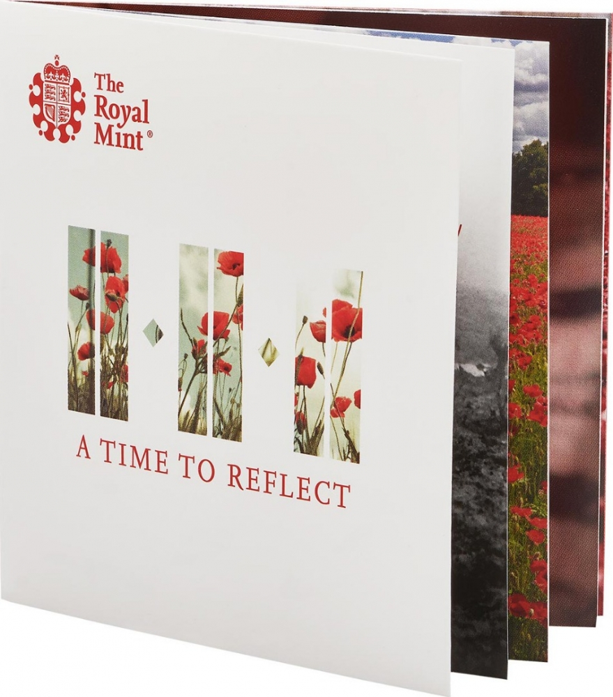 5 Pounds 2018, United Kingdom (Great Britain), Elizabeth II, Remembrance Day, Armistice of 11 November 1918, Royal Mint case
