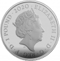 1 Pound 2020, United Kingdom (Great Britain), Elizabeth II, James Bond, Aston Martin DB5