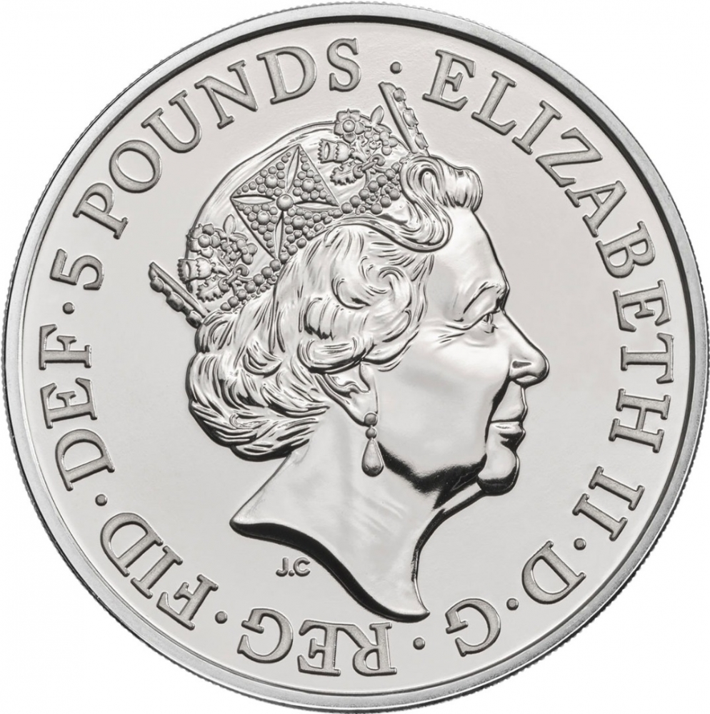 5 Pounds 2018, United Kingdom (Great Britain), Elizabeth II, Queen's Beasts, Black Bull of Clarence
