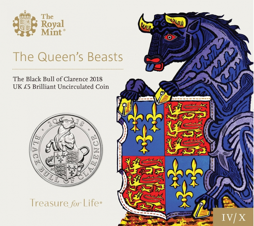 5 Pounds 2018, United Kingdom (Great Britain), Elizabeth II, Queen's Beasts, Black Bull of Clarence, Specially designed packaging
