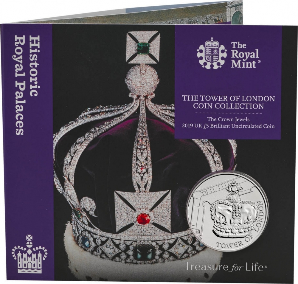 5 Pounds 2019, United Kingdom (Great Britain), Elizabeth II, Tower of London, Crown Jewels, Specially designed packaging