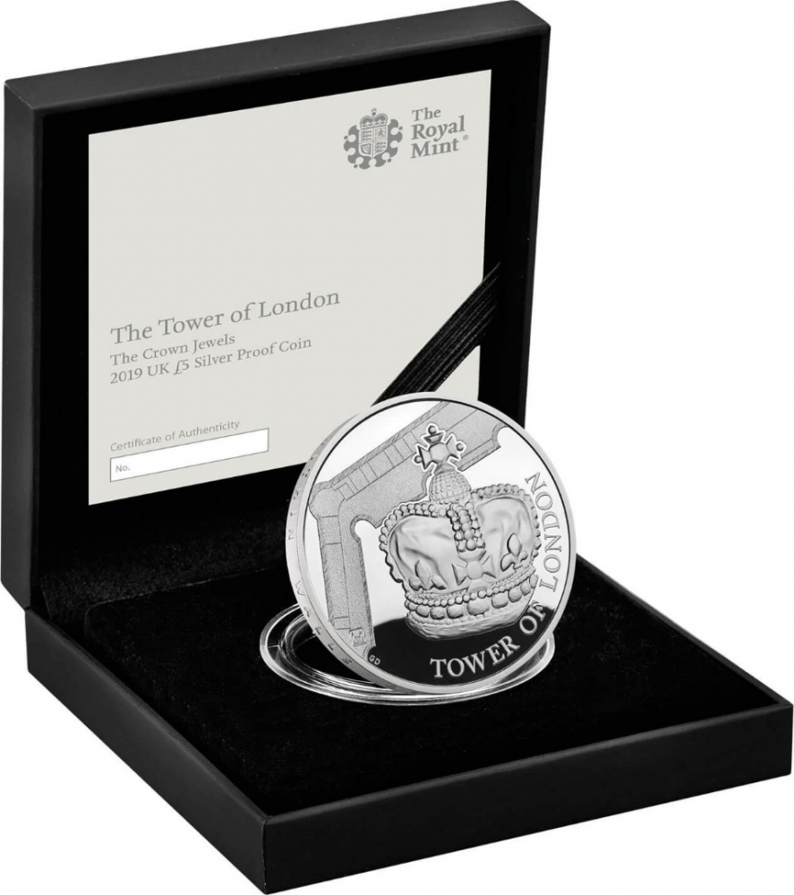 5 Pounds 2019, United Kingdom (Great Britain), Elizabeth II, Tower of London, Crown Jewels, Royal Mint case accompanied by a booklet