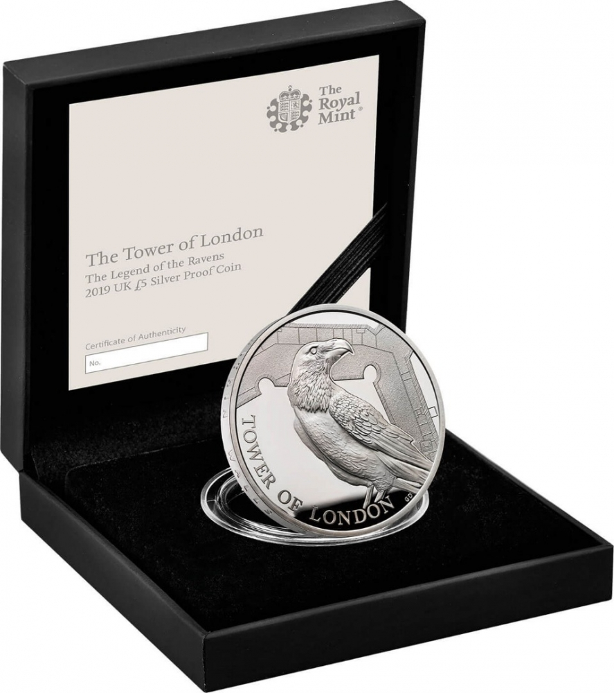 5 Pounds 2019, United Kingdom (Great Britain), Elizabeth II, Tower of London, Legend of the Ravens, Royal Mint case accompanied by a booklet