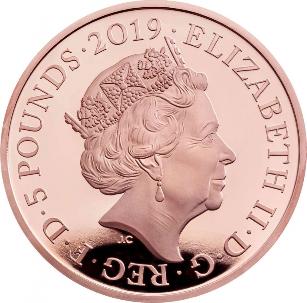 5 Pounds 2019, United Kingdom (Great Britain), Elizabeth II, Tower of London, Legend of the Ravens