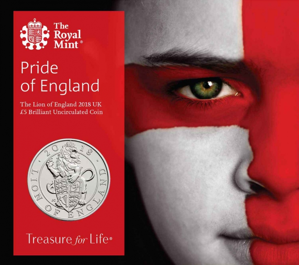 5 Pounds 2017-2018, United Kingdom (Great Britain), Elizabeth II, Queen's Beasts, Lion of England, Pride of England: Specially designed packaging