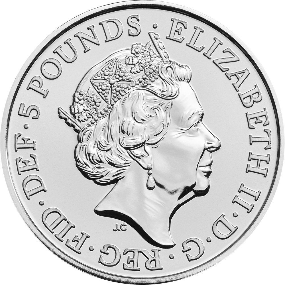 5 Pounds 2017-2018, United Kingdom (Great Britain), Elizabeth II, Queen's Beasts, Lion of England