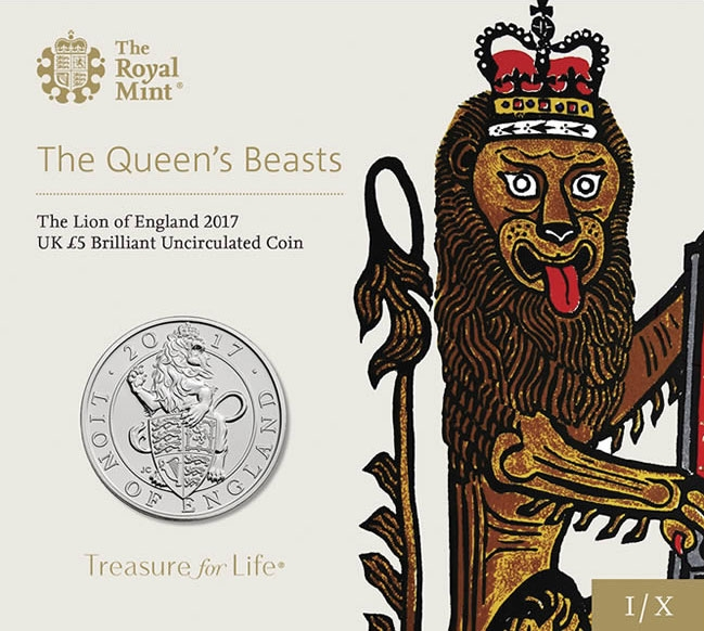 5 Pounds 2017-2018, United Kingdom (Great Britain), Elizabeth II, Queen's Beasts, Lion of England, Lion of England: Specially designed packaging