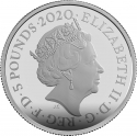 5 Pounds 2020, United Kingdom (Great Britain), Elizabeth II, James Bond, Submarine Car Wet Nellie