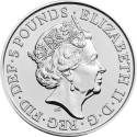5 Pounds 2017, United Kingdom (Great Britain), Elizabeth II, Queen's Beasts, Unicorn of Scotland