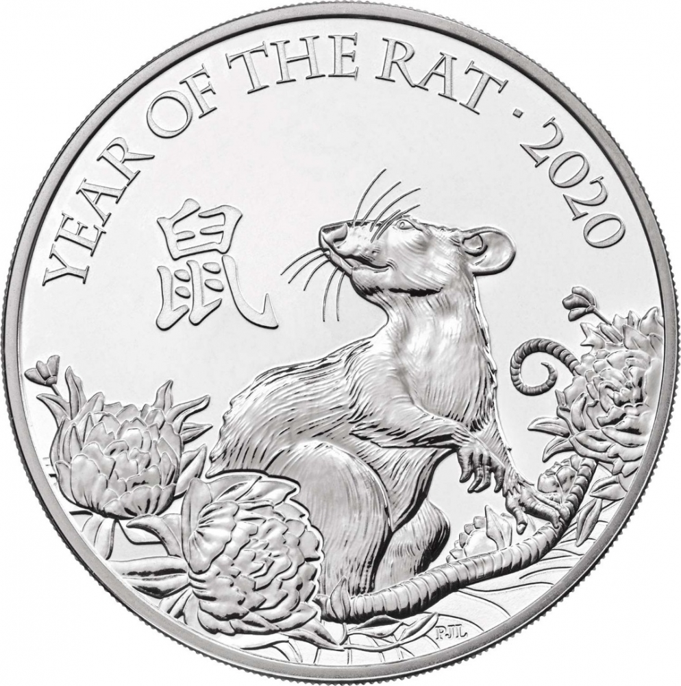 5 Pounds 2020, United Kingdom (Great Britain), Elizabeth II, Chinese Zodiac, Year of the Rat