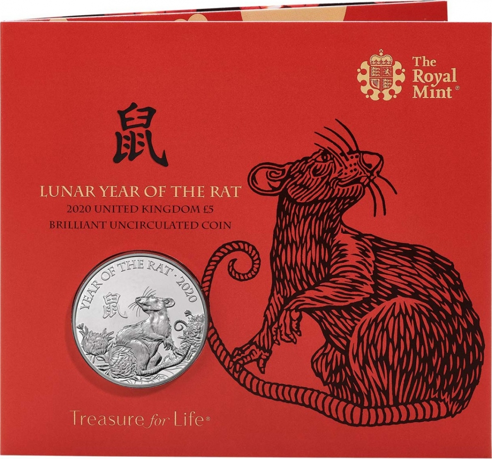 5 Pounds 2020, United Kingdom (Great Britain), Elizabeth II, Chinese Zodiac, Year of the Rat, Specially designed packaging