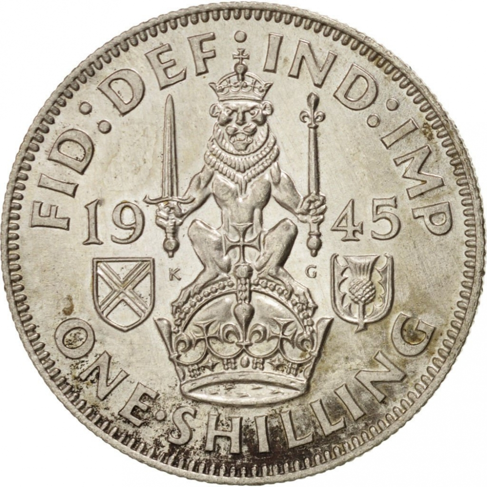 1 Shilling 1937-1946, KM# 854, United Kingdom (Great Britain), George VI