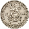 1 Shilling 1947-1948, KM# 863, United Kingdom (Great Britain), George VI