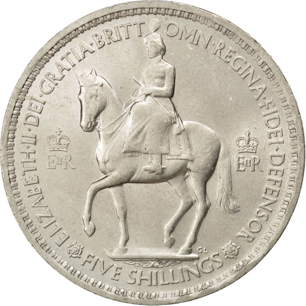 1953 five shilling coin