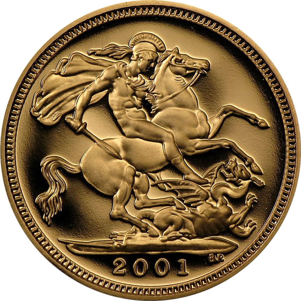 1/2 Sovereign 1998-2015, KM# 1001, United Kingdom (Great Britain), Elizabeth II, Engraver's initials in exergue
